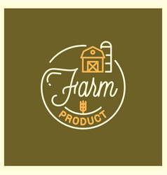 farm product logo round linear logo farm vector image