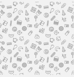 fast food seamless pattern in thin line vector image