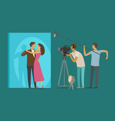 Film crew makes a movie cinematograph cinema vector