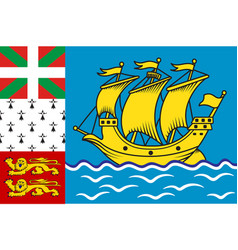 Flag of saint pierre and miquelon france vector
