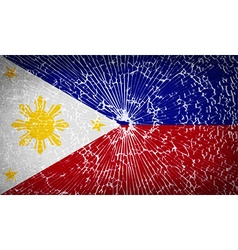 Flags Philippiines with broken glass texture vector