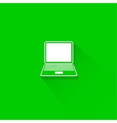 Flat long shadow laptop icons set vector