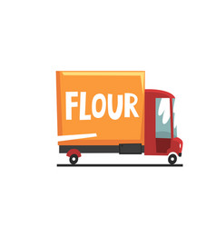 Flour delivery service truck vector