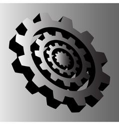 Four gray steel cogwheels vector