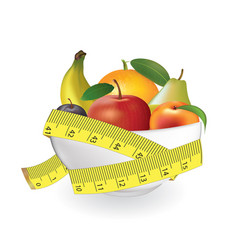 fruits in bowl with measuring tape vector image