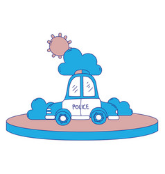 Full color police car service with cloud and sun vector