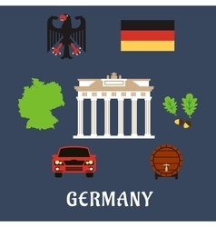 germany national and travel flat icons vector image