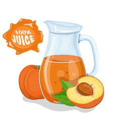 glass jug with natural juice ripe peach juice vector image
