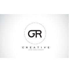 Gr g r logo design with black and white creative vector