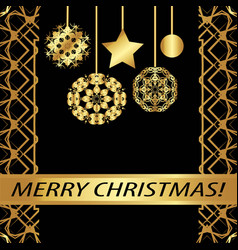 Greeting card merry christmas vintage golden vector