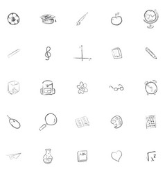 Hand drawn school icons set vector