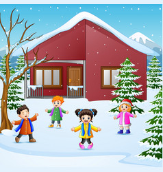 happy kid playing in the snowing village vector image