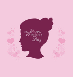 Happy womens day silhouette head girl vector