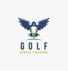 hawk bird holding golf ball logo icon vector image