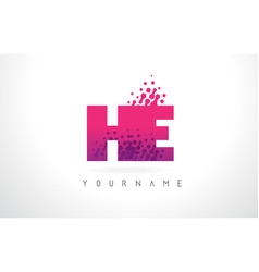 He h e letter logo with pink purple color and vector
