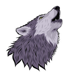 Head a howling wolf on moon isolated on a vector