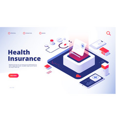 Health insurance landing healthcare personal plan vector