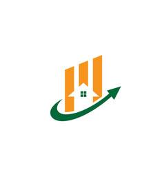 home arrow business real estate logo vector image