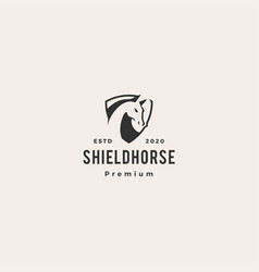 horse head shield logo icon hipster vintage retro vector image