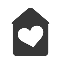 House with heart shape inside vector