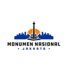 indonesian national monument logo vector image