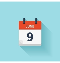 June 9 flat daily calendar icon Date and vector image