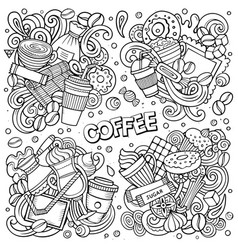 line art hand drawn doodles cartoon set of vector image