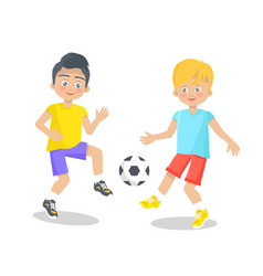 little boy playing football on white background vector image