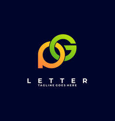 Logo abstract letter p and g colorful style vector