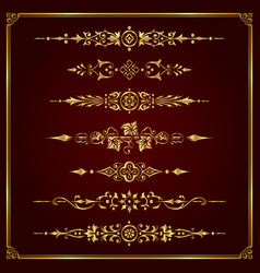 Luxury ornamental page dividers in gold vector