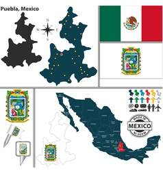 Map of Puebla vector