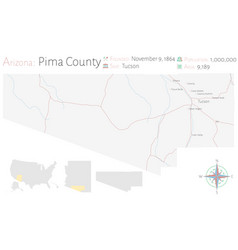 Map pima county in arizona vector