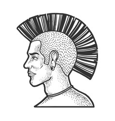 mohawk hairstyle man sketch vector image