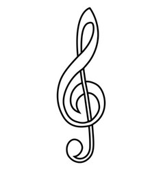 musical sign treble clef calligraphy treble clef vector image