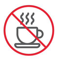 no coffee cup line icon prohibition and forbidden vector image