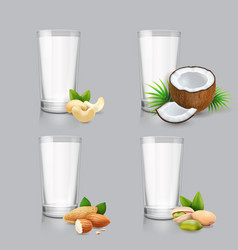non-dairy milk set vegan nut milk in glass vector image