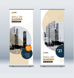 Orange business roll up banner abstract roll up vector