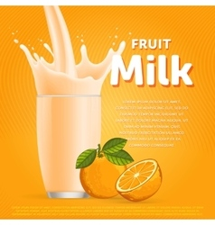 Orange sweet milkshake dessert cocktail vector image