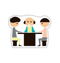 Paper sticker on white background businessmen vector