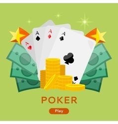 Poker Conceptual Web Banner in Flat Design vector image