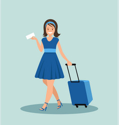 pretty girl with luggage in the airport vector image