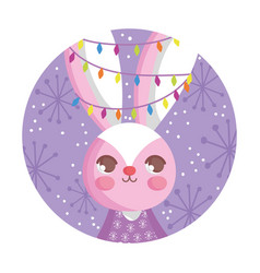 rabbit with lights tangled in ears snow merry vector image