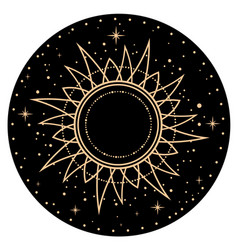 Round esoteric composition sun and stars vector