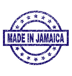 scratched textured made in jamaica stamp seal vector image