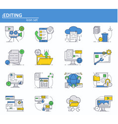 set of computer services icons in thin line vector image