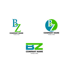 set of initial letter bz logo template design vector image