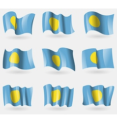 Set of Palau flags in the air vector image
