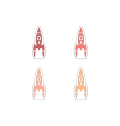 Set of paper stickers on white background rocket vector