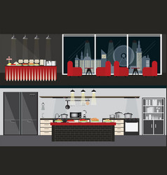 set of restaurant interiors vector image