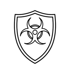 Shield with a biohazard sign icon outline style vector image